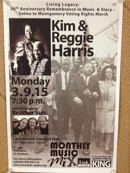Concert Poster - Kim & Reggie Harris and Brother Sun in Tupelo, MS