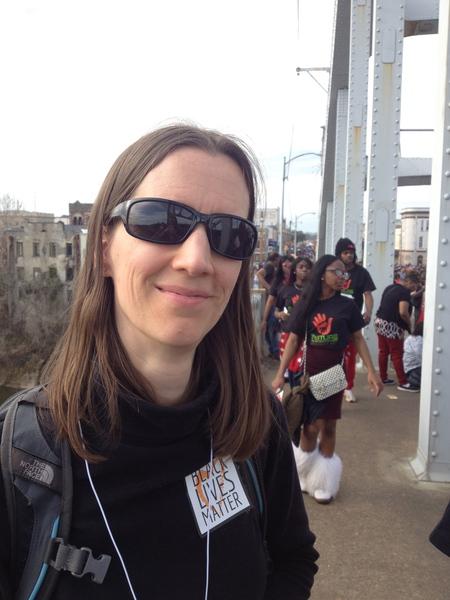 Lynn on the Edmund Pettus Bridge - Selma 2015
