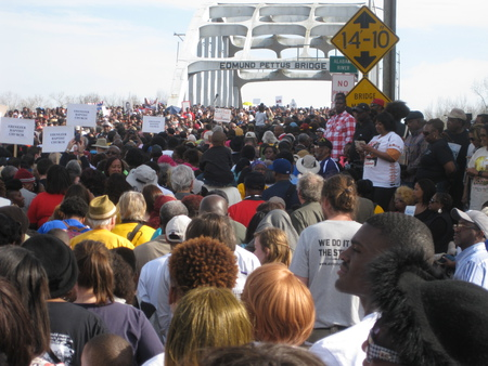 Crossing the Edmund Pettus Bridge in Selma - March 2015