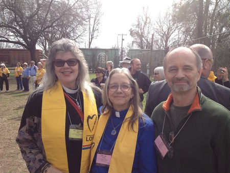 Rev Amy Carol Webb Rev Jan Taddeo and Russ Taddeo at the premarch rally in Selma