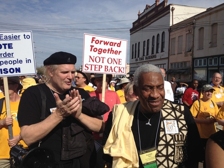 Greg Greenway and Reggie Harris in the march in Selma 2015