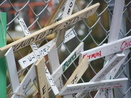 Crosses on the gates of Ft Benning